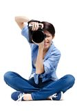 Lady-photographer takes shots Stock Photography
