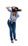 Lady-photographer takes snapshots Stock Images