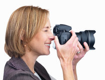 Lady photographing with camera - White background Royalty Free Stock Photo