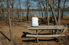 Lady on a Picnic Bench. A lady rests on a picnic bench and looks out at the lake Stock Images