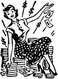 Lady On Pile Of Cash Stock Photo