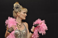 Lady with pink boa Stock Images