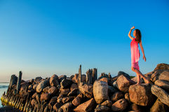 Lady in pink dress on seashore Stock Image