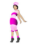 Lady in Pink Original Fashion Dress Stock Photo