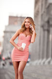 Lady in pink. Stock Image