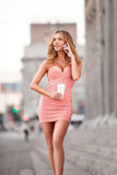 Lady in pink. Royalty Free Stock Photo
