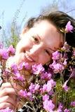 lady pink rhododendrons young Στοκ φωτογραφίες με δικαίωμα ελεύθερης χρήσης