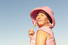 Lady in pink and rose Stock Photos