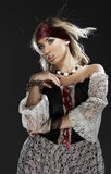 Lady pirate. Sexy blonde in halloween costume Royalty Free Stock Image