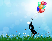 Lady playing with balloons Royalty Free Stock Photos