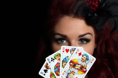 Lady with playing cards Stock Photography