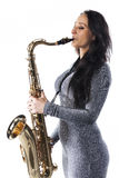 Lady Playing the Sax Stock Photos