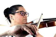 Lady playing violin Royalty Free Stock Image