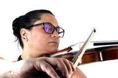 Lady playing violin Royalty Free Stock Photography