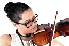 Lady playing violin Stock Photography