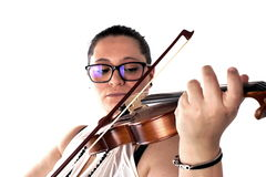 Lady playing violin Stock Image