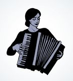 Lady plays the accordion. Vector drawing. Ethnic russian young fun talent smile lady skill bellow harmonic key chord on white. Line black ink drawn happy human vector illustration
