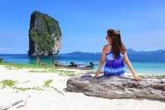 Lady on Po Da Island Royalty Free Stock Images