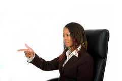 Lady pointing finger Royalty Free Stock Image