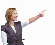 Lady pointing at something interesting Royalty Free Stock Photography