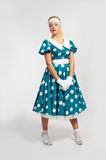 Lady in a polka dot dress Stock Images