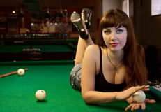 Lady in pool room Stock Photography