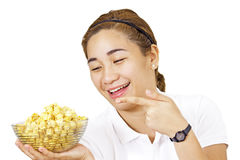 Lady And Popcorn Stock Photography