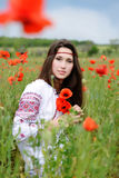 Lady in the  poppies  field Royalty Free Stock Image
