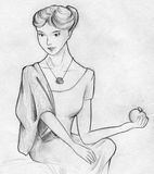 Lady posing with apple. Hand drawn pencil sketch of a lady posing with apple Royalty Free Stock Image