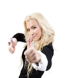 Lady posing with good luck sign Royalty Free Stock Images
