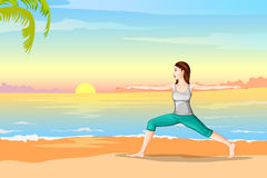 Lady practising yoga for wellness Royalty Free Stock Images