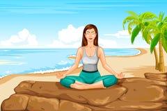 Lady practising yoga for wellness Stock Photos