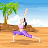 Lady practising yoga for wellness Royalty Free Stock Photo