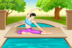 Lady practising yoga for wellness Royalty Free Stock Photography