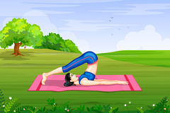 Lady practising yoga for wellness Stock Image