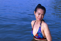 Lady pretty swimsuit in water Stock Photography