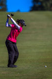 Lady Pro Golfer Top Swing  Royalty Free Stock Photography