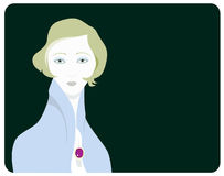 Lady with a Purple Broach. A Elegant Lady with a Purple Broach Vector Illustrations Royalty Free Stock Images