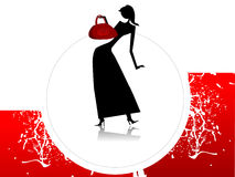 Lady with purse. On circular background Stock Images
