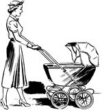 Lady Pushing Pram Royalty Free Stock Photos