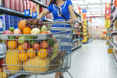 A lady pushing a shopping cart in the mall shopping Stock Image