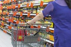Lady pushing a shopping cart Royalty Free Stock Photography