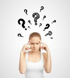 Lady with question mark Stock Image