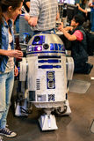 Lady and R2D2. A Lady checks out R2D2 at the SX Create Event in the Palmer Event Center At SXSW in Austin, TX Royalty Free Stock Images