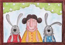 Lady and rabbits sitting at the window Stock Photos
