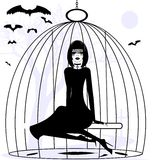 Lady raven. Black and white mystical fantasy: girl raven in a cage Stock Photo