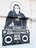 Asbury Park Boardwalk Mural. Lady Raven with a boombox mural Royalty Free Stock Photo