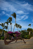 Lady reading book in peace in great atmosphere with bougainvillea and palm trees with big anchor in foreground. Lady reading book in sunshine on bench with royalty free stock photos