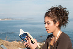 Lady reading a book at the seaside Stock Photography