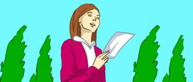 Cartoon lady reading a letter or a flyer in her hand walking in a park with green trees Stock Photos